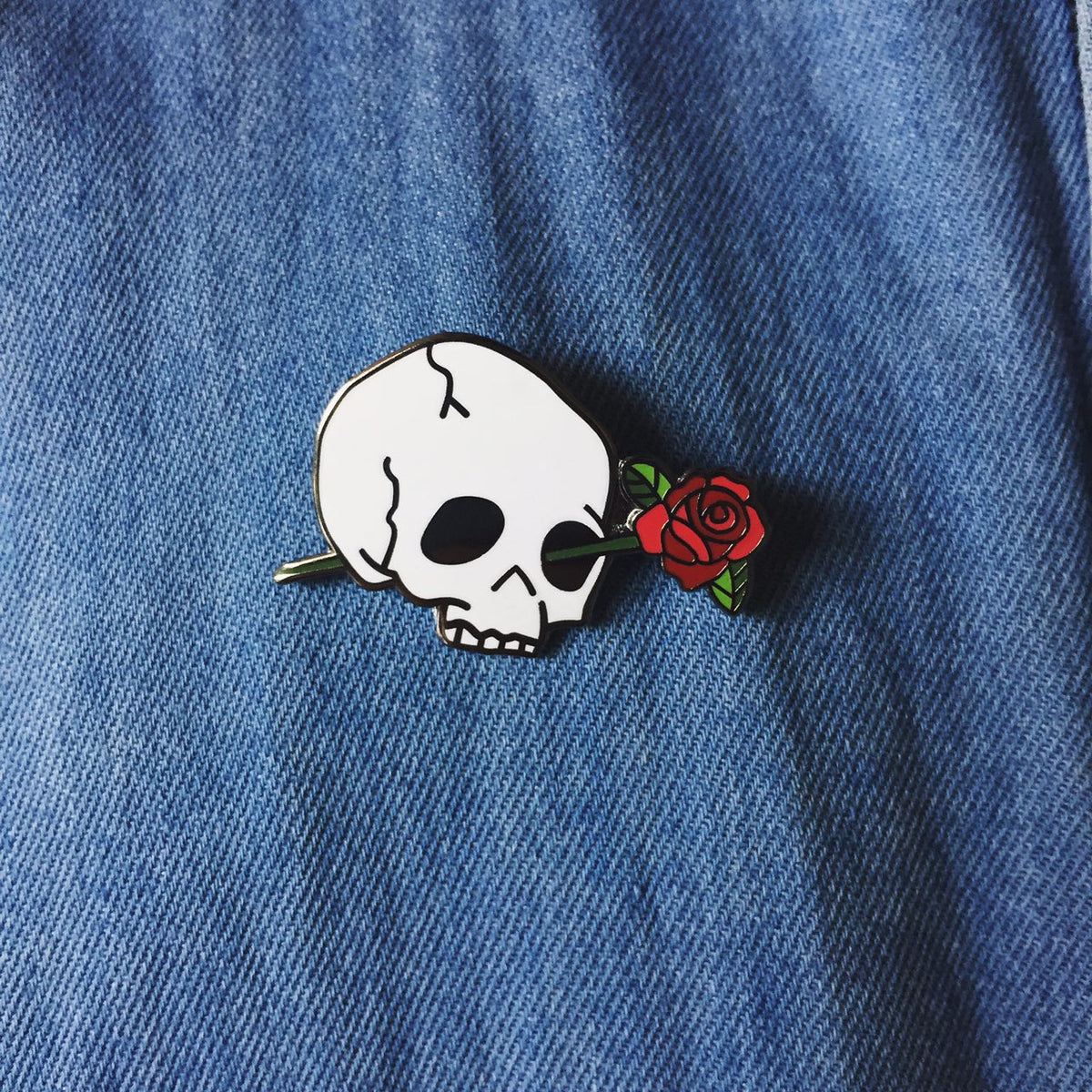 Skull with Rose Enamel Pin