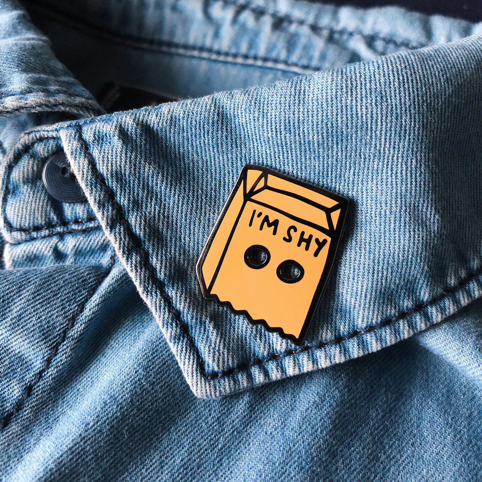 I'm Shy Brown Paper Bag Enamel Pin