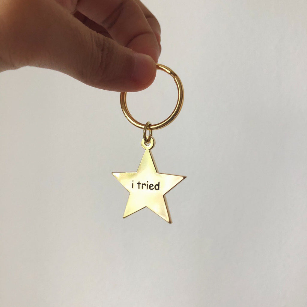 """I tried"" Gold Star Keychain"
