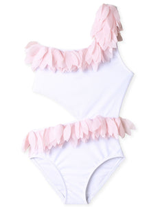 White Side Cut Swimsuit with Pink Petals