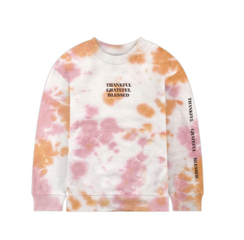 PORT 213 | Thankful Crew Neck | Pink Tie-Dye