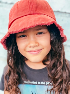 LITTLE FELLA REBELS | Rose Frayed Bucket Hat