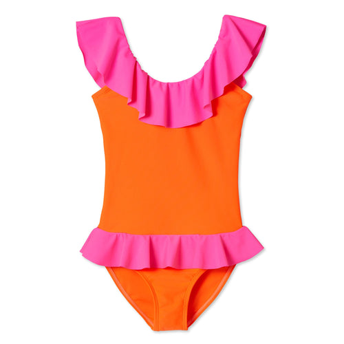 Neon Pink and Tangy Orange Bathing Suit