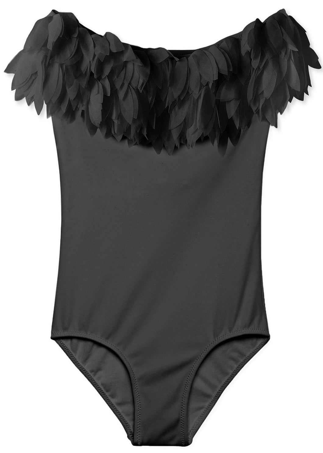Black Draped Swimsuit with Black Petals
