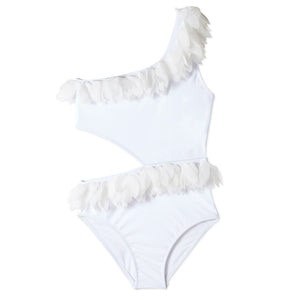 White Side Cut Out Swimsuit with White Petals
