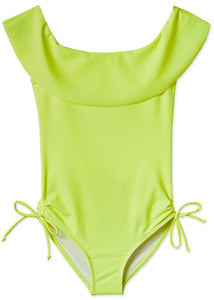 Neon Yellow Draped Swimsuit