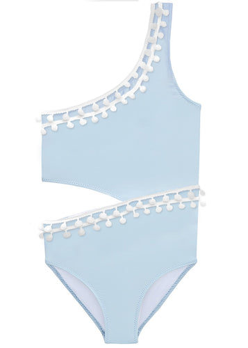 Blue Side Cut Swimsuit with White Pom Poms
