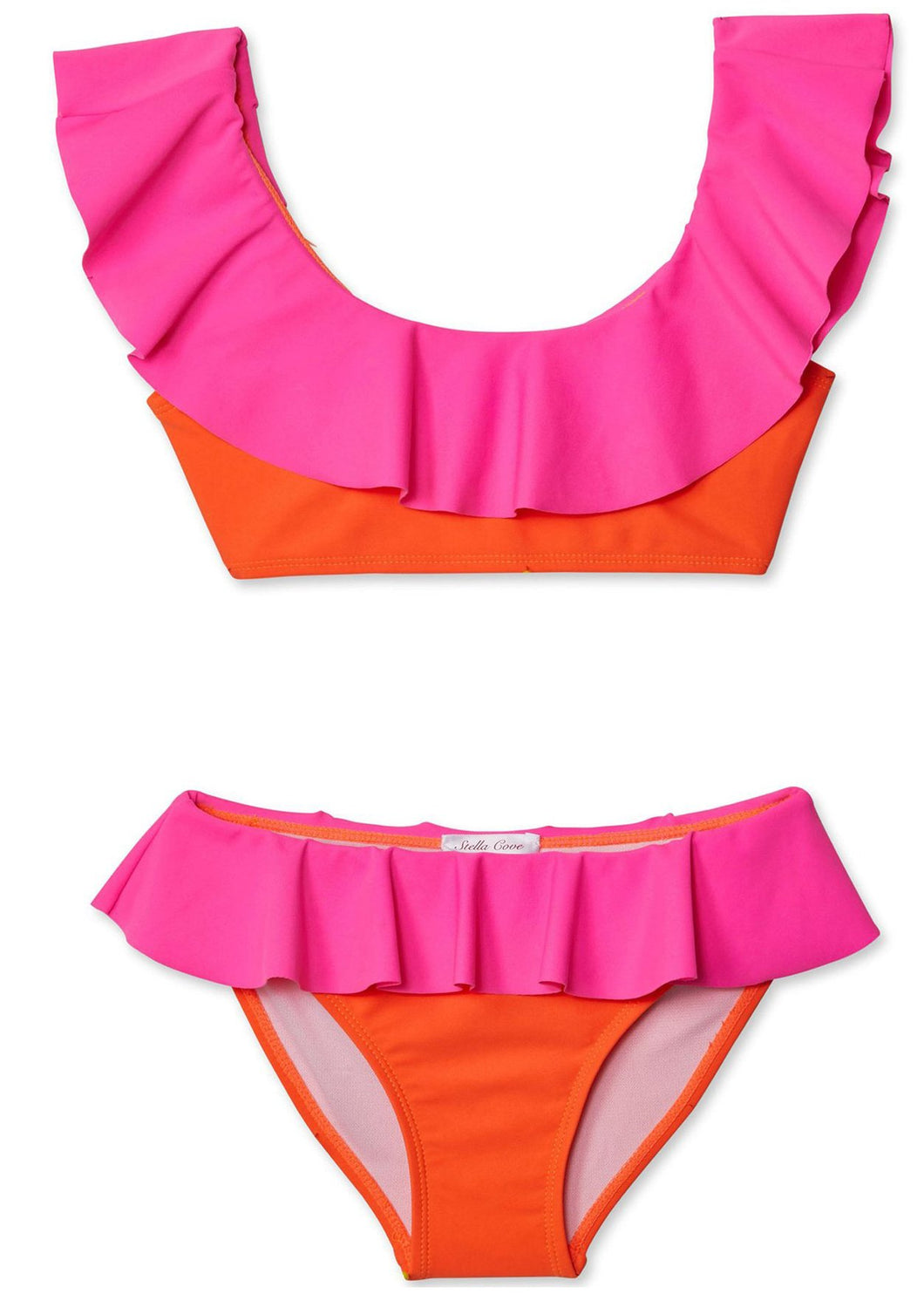 Neon Pink and Orange Bikini for Girls