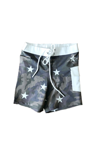 LITTLE RUKI | Minami Board Short  | Camo + Stars