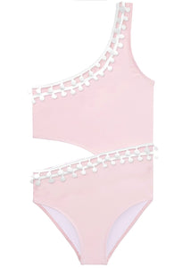 Pink Side-Cut Swimsuit with Pom Pom