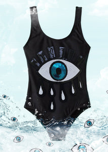 Black Tank with Sequin Eye