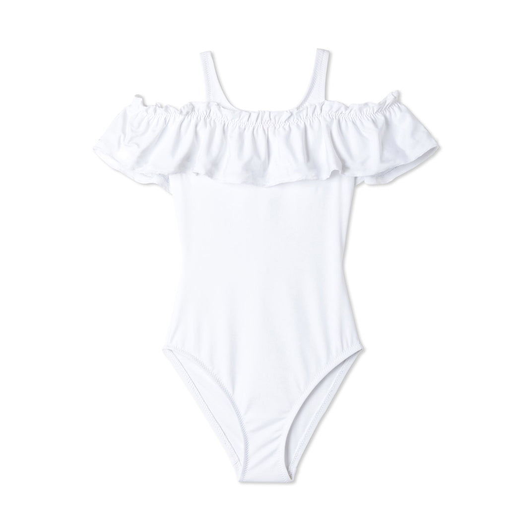 White Ruffle Bathing Suit for Girls