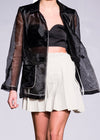 Organza black jacket with mini skirt
