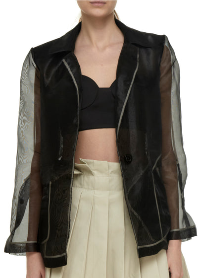 organza black jacket with crop top