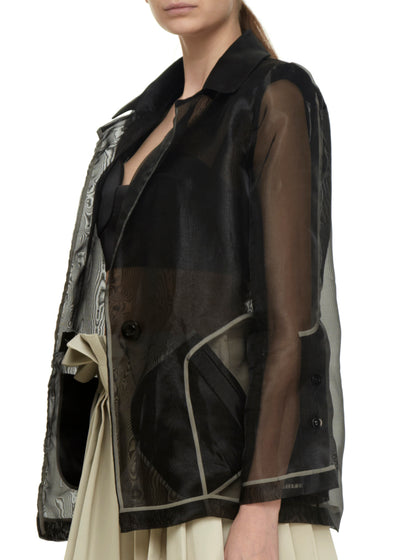 Organza black jacket side with beige lining