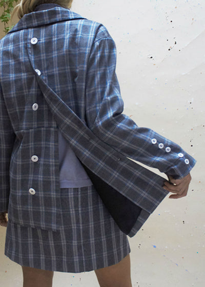 heritage checked blazer with buttons at the back