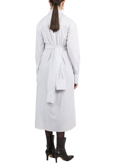 shirt dress with sleeves as a waist belt