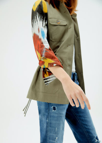 Army Inspired Ikat Jacket - Multicolor