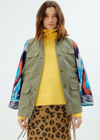 Army Inspired Ikat Jacket - Blue