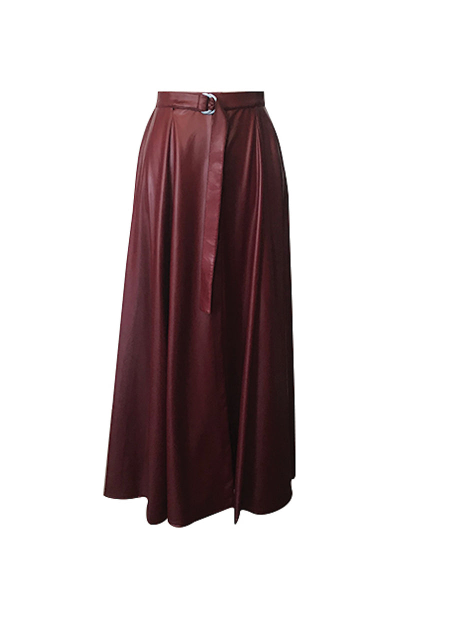 Hibiscus Leather Maxi Skirt