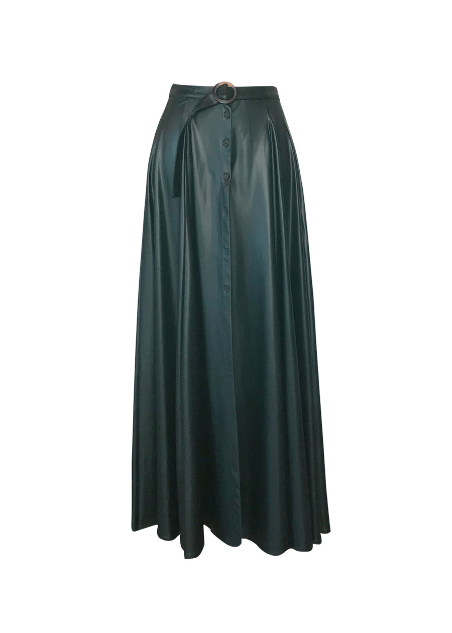 green faux leather maxi skirt