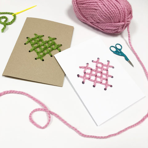 Cross stitch Valentine's day card for children to make