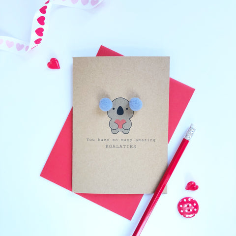 Koala Valentine's day card with pompom ears