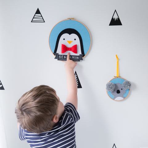 Penguin embroidered wall hanging