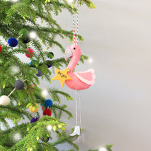 Load image into Gallery viewer, Personalised Flamingo Christmas tree ornament