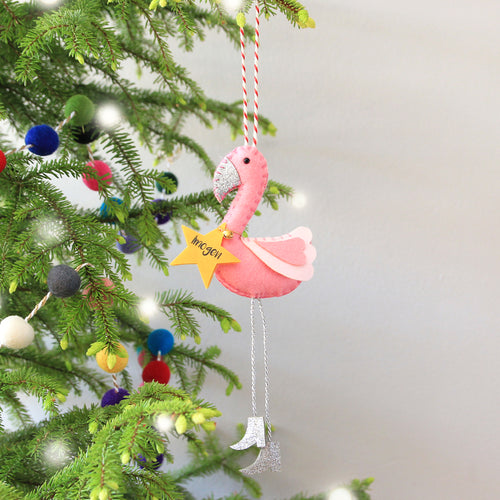 flamingo christmas tree ornament - Flamingo Christmas Decorations
