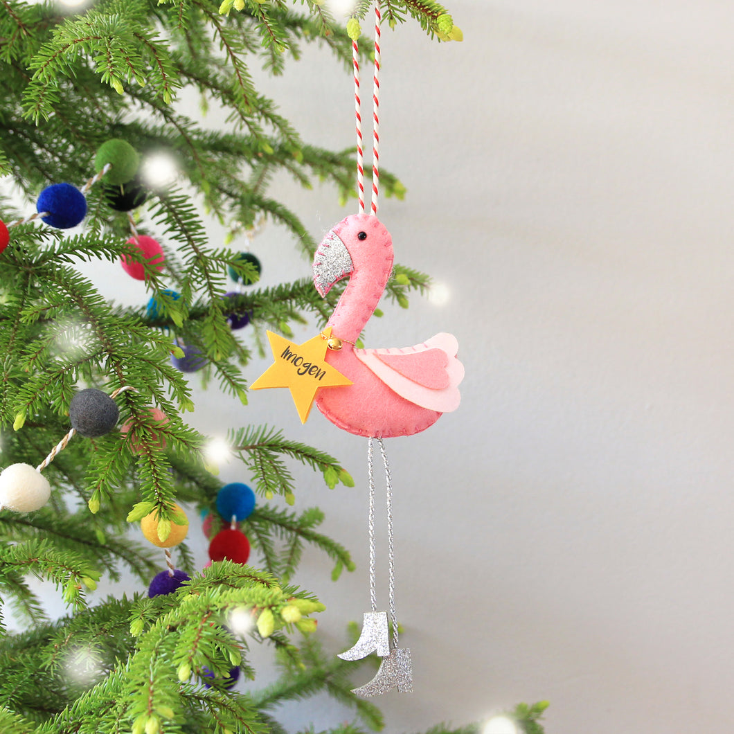 Personalised Flamingo Christmas tree ornament