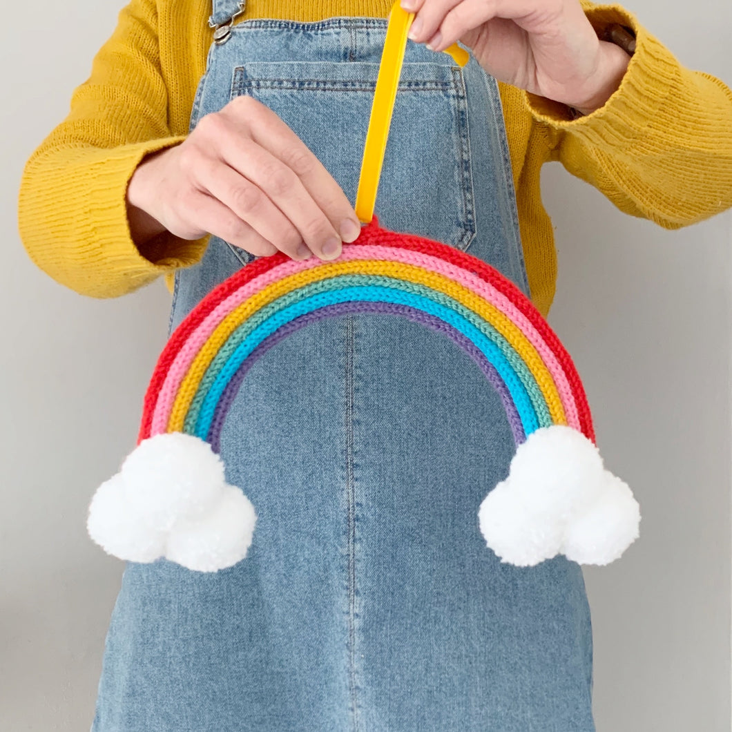 Knitted Rainbow Wall Hanging