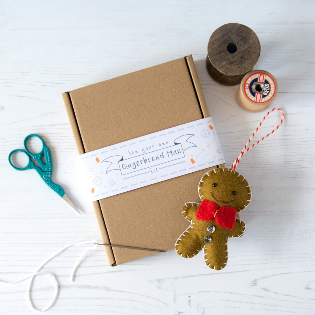 Make your own gingerbread man sewing kit
