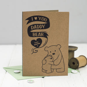 Daddy bear card with one bear cub