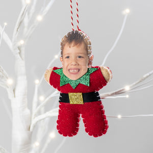 Personalised elf Christmas decoration