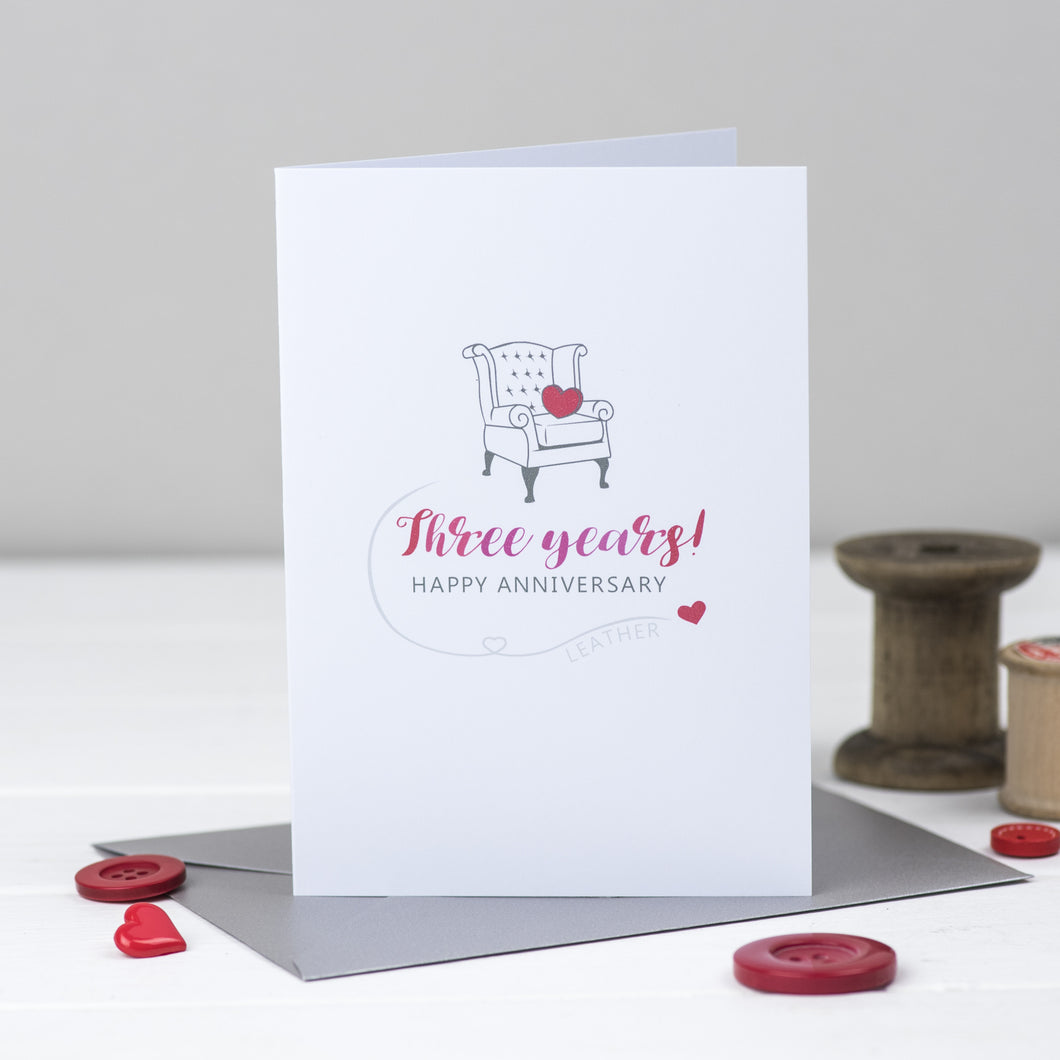 3rd anniversary card with illustration of a leather chair