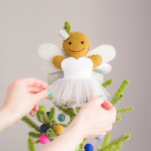 Sparkly Gingerbread Angel Christmas Tree Topper