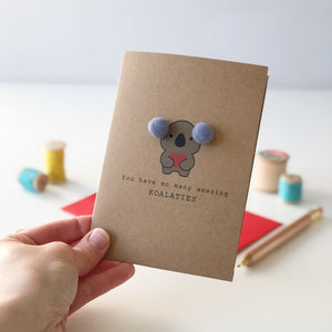 Koala Anniversary card with pompom ears