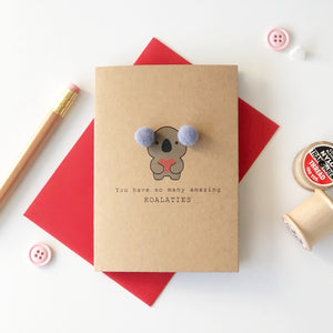 Koala card with red envelope.