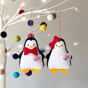 Penguin Couple Christmas Tree Decorations