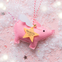 Load image into Gallery viewer, Pig Personalised Christmas Decoration