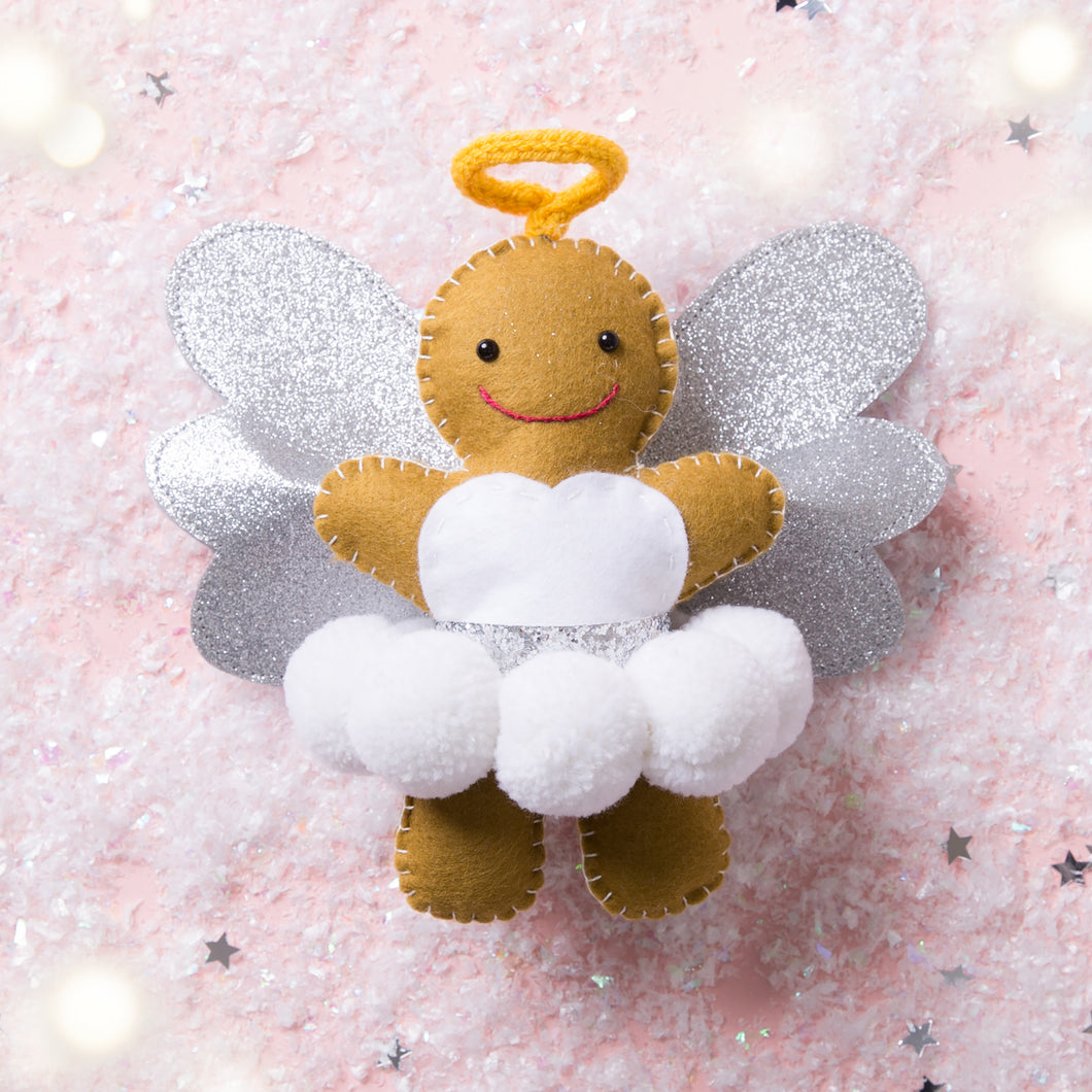 Pom Pom Gingerbread Angel Tree Topper - Pre-Order