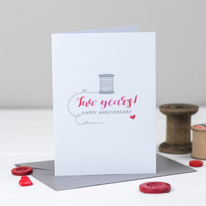 Second wedding anniversary card with cotton reel