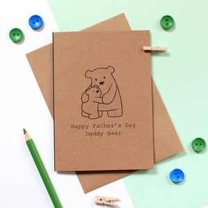 Daddy bear Father's Day card with one cub
