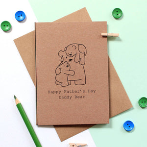Father's Day card with Daddy Bear and two cubs