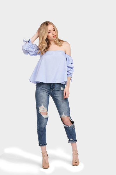 S17W-1000004061-BTE-S-blue-stripe-bardot-top-with-ruffle-tie-sleeves-mid-blue-jl1838
