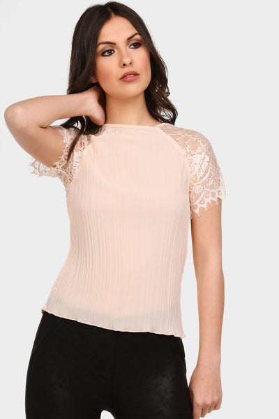 S17W-1000004095-NDE-S/M-lace-sleeve-pleated-top-nude-jl1860