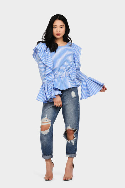 S17W-1000004259-BTE-S/M-stripe-frilly-top-mid-blue-jl1939
