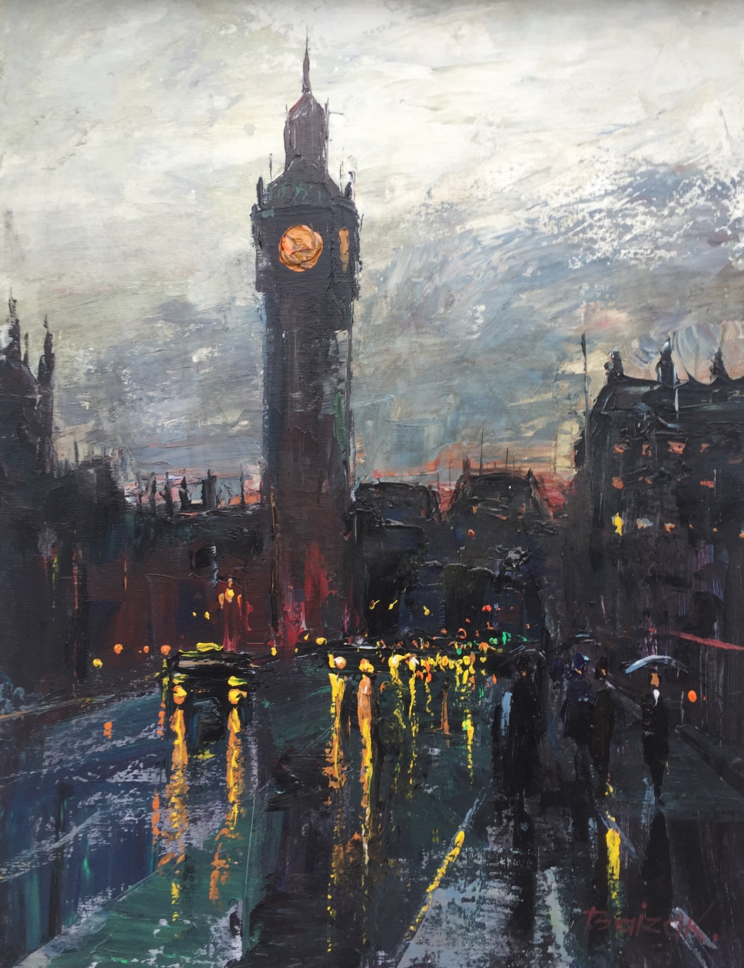 Big Ben Standing In The Rain by Baizak Alabayev