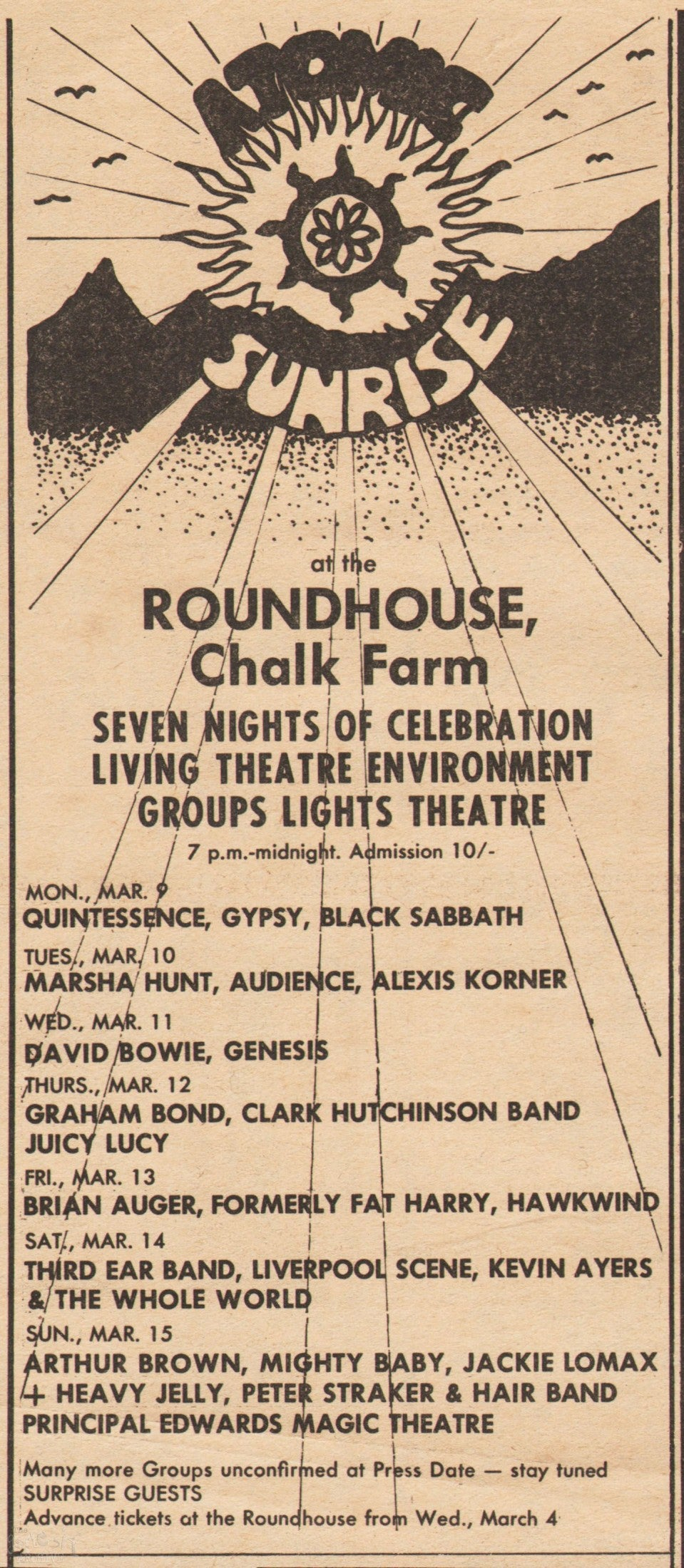 The Atomic Sunrise Festival. The Roundhouse, London, 1970